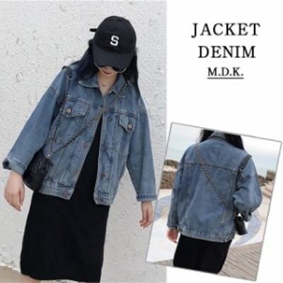レディース デニム ジャケット Gジャン アウター 大きいサイズ ダメージ加工 bf風 ストリート系 ファッション