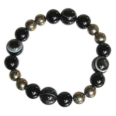 天眼石 & オニキス & パイライト 強力ブレスレット 8月 誕生石 18cm ギフト プレゼント 数珠 念珠 天然石 ジュエリー