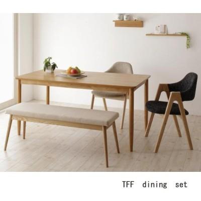 ダイニングテーブルセット 4点  幅150cm オーク突板 天然木 無垢材 北欧ナチュラル
