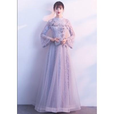 ナイトドレス 上品レディース ロングドレス マキシ丈 20代30代40代 レースブドレス 着痩せ 長袖 お呼ばれドレス