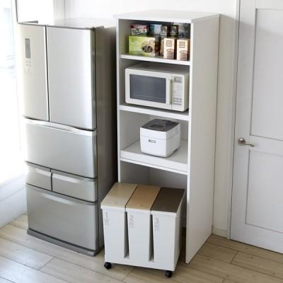 家具 収納 キッチン収納 食器棚 キッチンストッカー 食品ストッカー 大型パントリーシリーズ レンジラック 下オープン 幅60cm 617609