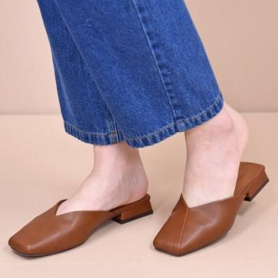 靴 レディース シューズ ミュール パンプス スクエアトゥ フラット おしゃれ かわいい 大人 ローヒール 黒 ブラック 合皮 NOFALL SANGO サンゴ