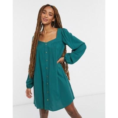 エイソス ASOS DESIGN レディース ワンピース ミニ丈 Button Through Mini Swing Dress With Long Sleeves In Forest Green フォレストグリーン