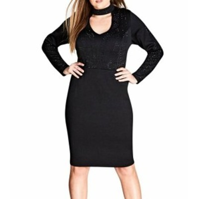 City Chic シティシック ファッション ドレス City Chic NEW Black Womens Size XL 22 Plus Studded Choker Dress