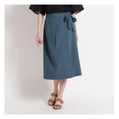 【スーナウーナ/SunaUna】 【洗える】ラップ風ストレッチスカート
