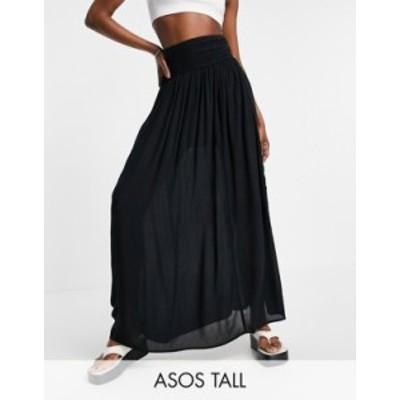 エイソス レディース スカート ボトムス ASOS DESIGN Tall maxi skirt in crinkle with shirred panel in black Black