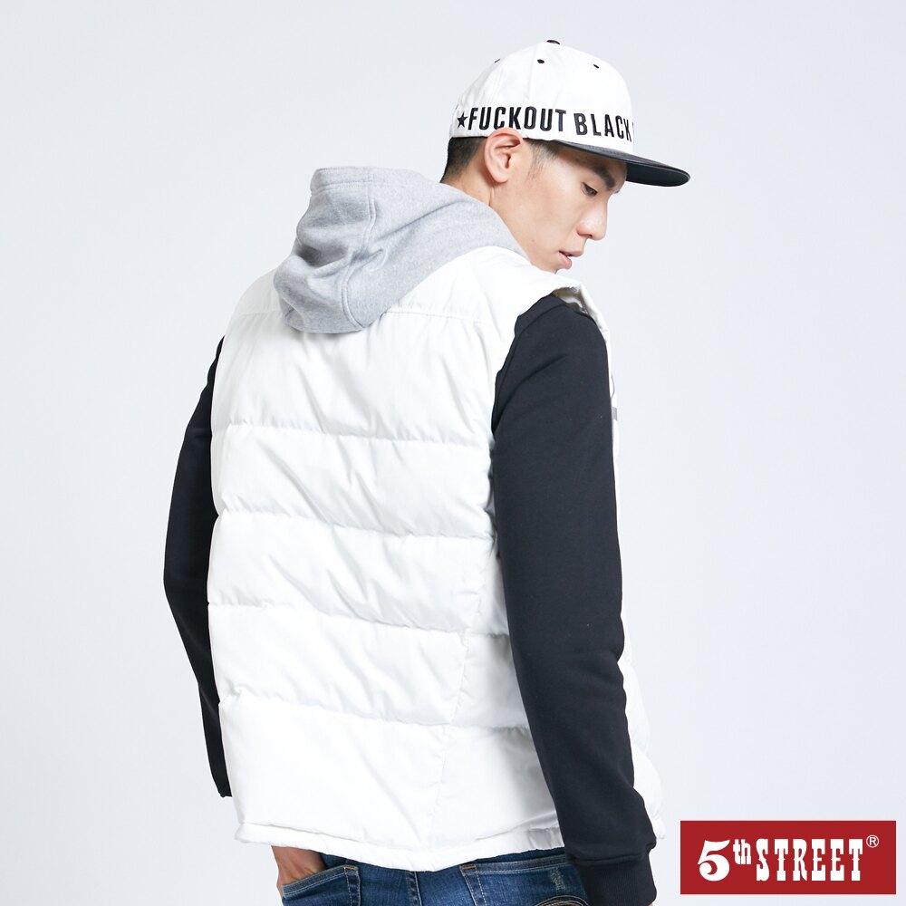滿額送飲料袋 | 【5th STREET】男針織連帽羽絨背心-米白色