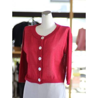 サマーニット カーディガン 5分袖 綿100% 日本製 ミセス 40代 50代 60代 70代 ファッション
