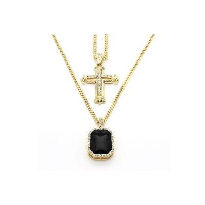 チェーン ネックレス アメリカン ジュエリー ヒップホップ 14k Gold Plated Cz Sharp Sides Cross Pendant & Iced Black Cz Necklace Set