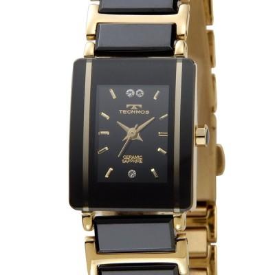 テクノス セラミック レディース 腕時計 TECHNOS TSL906GB ブラック×ゴールド 送料無料