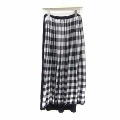 【中古】ドゥロワー 14Gギンガムギャザースカート フレアスカート プリーツ ギンガムチェック 紺 白 レディース