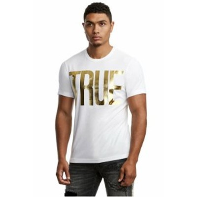 Gold ゴールド ファッション トップス True Religion Mens True Front Gold Metallic Foil Print Tee T-Shirt