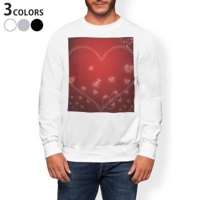 トレーナー メンズ 長袖 ホワイト グレー ブラック XS S M L XL 2XL sweatshirt trainer 裏起毛 スウェット 赤 ハート キラキラ 005291