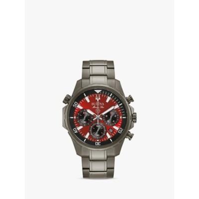 ブロバ 腕時計 メンズ アクセサリー Bulova 98B350 Men's Chronograph Date Bracelet Strap Watch, Grey/Red