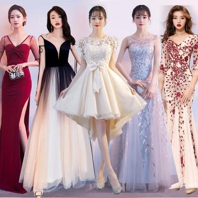 12.15新作追加 💖韓国ファッション 結婚式 ドレス  エレガント ドレス パーティー 一字肩、側開、深いVネック やせて見える、ハイウ ワンピース M348