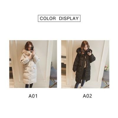 ロングダウンコートレディース中綿コートダウンジャケット冬服フードファー付アウター暖かい防風防寒オシャレ大きいサイズゆったり