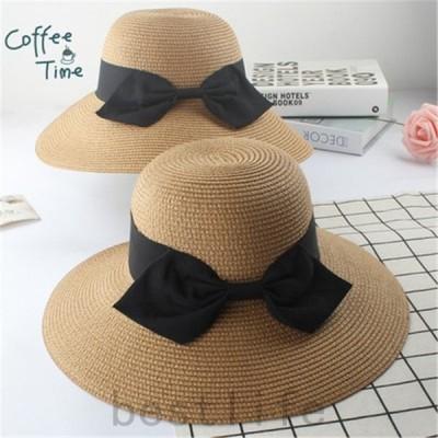 麦わら帽子折りたたみレディース帽子帽子ハットサンバイザーレディース春夏麦わらつば広リボンビーチハットビーチ帽子UVカット旅行