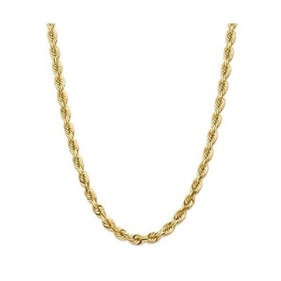 """Solid 14k Yellow Gold Big Heavy 7mm Diamond-Cut Rope Chain Necklace 20"""" - with Secure Lobster Lock Clasp"""