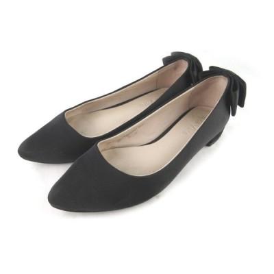 【中古】ADE VIVRE アドゥヴィーヴル パンプス リボン ポインテッドトゥ フラット 黒 ブラック 22cm 靴 レディース 【ベクトル 古着】