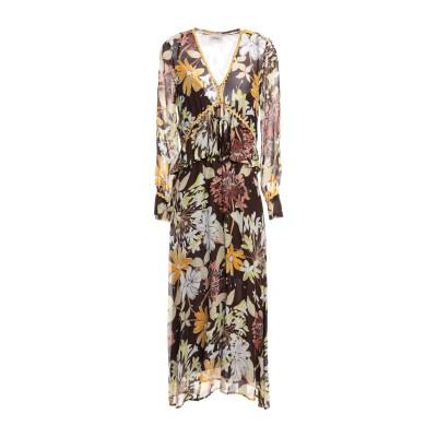 OTTOD'AME 7分丈ワンピース・ドレス ダークブラウン 40 レーヨン 100% 7分丈ワンピース・ドレス