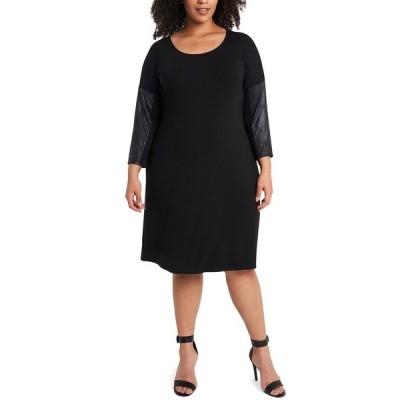 ミスク ワンピース トップス レディース Plus Size Pleather-Sleeve Shift Dress Black