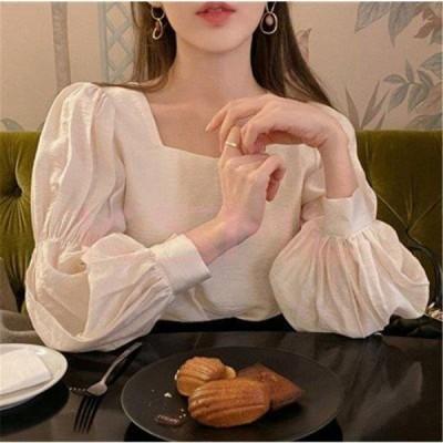 ブラウス レディース 40代 秋冬新作 長袖ブラウス 白シャツ スクエアネックシャツ パフスリーブトップス オシャレブラウス 韓国風  ゆったり 大人可愛い