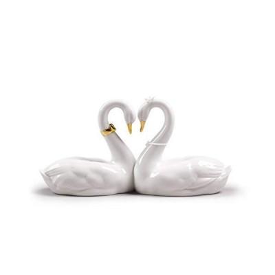 LLADR〓 Endless Love Swans Figurine. Golden Luster. Porcelain Swan Figure.【並行輸入品】