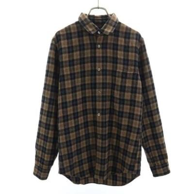 コムデギャルソン AD2007 チェック柄 長袖 シャツ S 茶系 COMME des GARCONS 日本製 メンズ 古着 210122