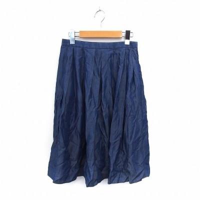 【中古】ユナイテッドアローズ A DAY IN THE LIFE UNITED ARROWS スカート フレア 膝丈 サイドジップ シンプル 36 ブルー /ST13 レディース 【ベクトル 古着】