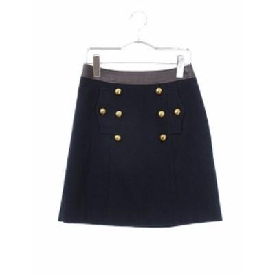 【中古】ジャスグリッティー JUSGLITTY スカート 台形 ミニ ウール 1 紺 ネイビー /ts レディース