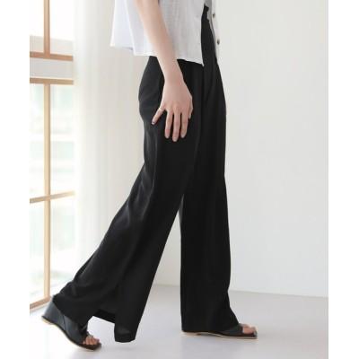 by muni:r / 脚が長く見える ハイウエスト ピンタック スリット スラックス WOMEN パンツ > スラックス