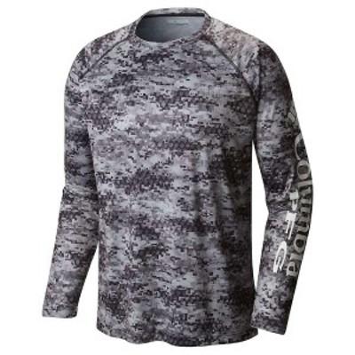 コロンビア メンズ Tシャツ トップス Columbia Men's Super Terminal Tackle LS Shirt Black / Digi Scale Print