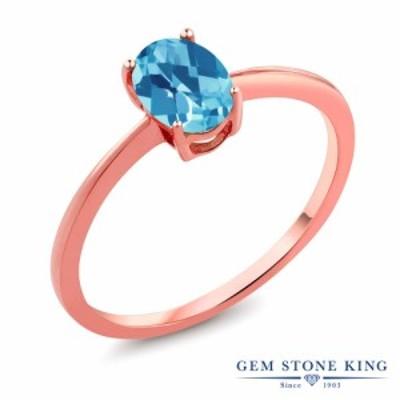 指輪 リング レディース 0.95カラット 天然 スイスブルートパーズ 10金 ピンクゴールド(K10) 一粒 シンプル 細身 ソリティア 天然石 11月