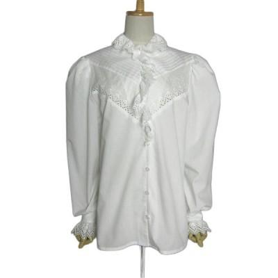 Distler Trachten 白 チロル ブラウス レディースL位 ヨーロッパ古着 フリルレース 民族衣装