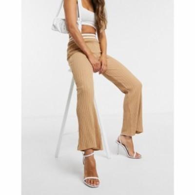 エイソス ASOS DESIGN レディース ボトムス・パンツ co-ord knitted flare trouser in camel stripe