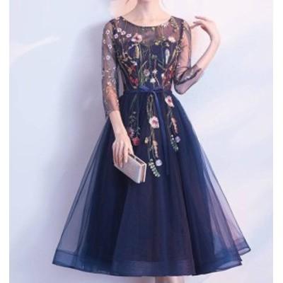韓国 ファッション レディース パーティドレス 花柄 刺繍 ミモレ丈 ロング チュール レース きれいめ お呼ばれ 結婚式 二次会 披露宴