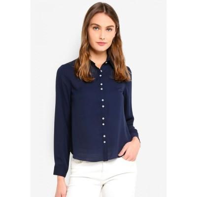 ドレッシング パウラ Dressing Paula レディース ブラウス・シャツ トップス Essential Crepe Shirt Navy Blue