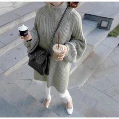 トップス ニット セーター ロング ゆったり オーバーサイズ 無地 秋 冬 カジュアル 通学 学生 着痩せ 長袖 グリーン ブラック