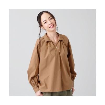 【トーキョーシャツ】 カジュアル ブラウス 長袖 ギャザーブラウス スキッパー衿 綿100% レディース レディース ベージュ・ブラウン FREE TOKYO SHIRTS