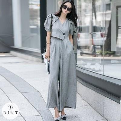 DINT 送料無料D4052リネンピンタックワイドジャンプスーツセレブ系オフィススタイル韓国ファッションブランドDINTのオシャレなオフィススタイル提案!
