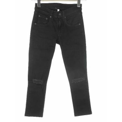 【中古】ラグ&ボーン RAG&BONE ブラック デニム スキニー パンツ 23 W1502K520 ダメージ加工 黒 ブラック レディース
