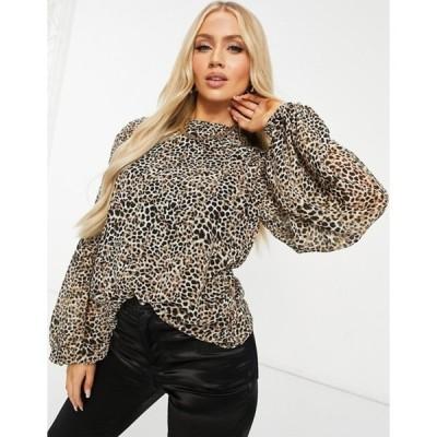 ミスガイデッド レディース シャツ トップス Missguided long sleeve floaty top in leopard print