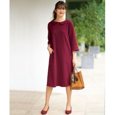 【大きいサイズ】 衿が取り外しできる7分袖ワンピース(オトナスマイル) ワンピース, plus size dress