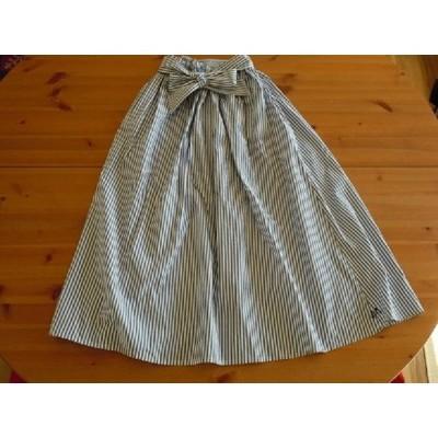 綿ロンドンストライプ  ギャザーフレアースカート