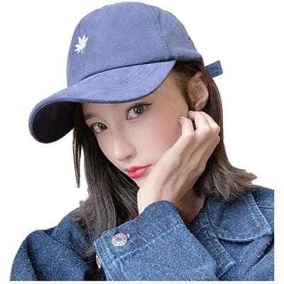 ジーティアモ キャップ レディース かわいい リーフ 刺繍 ワンポイント アジャスター 調節 帽子 黒(ネイビー, Free Size)