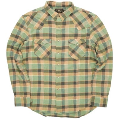 (ダブルアールエル) RRL チェック ウエスタン ワークシャツ コンチョボタン グリーン x ピンク メンズ