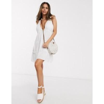 エイソス レディース ワンピース トップス ASOS DESIGN fuller bust bunny tie shoulder tiered beach dress in white White