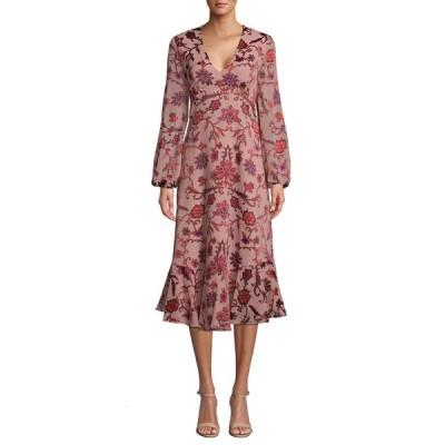 ニコルミラー レディース ワンピース トップス Red Vines Long-Sleeve Midi Floral Dress