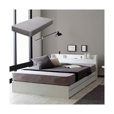 ビックスリー ベッド キャスター付き 引き出し収納 木製ベッド 棚付き 宮付き コンセント付き ホワイト シング