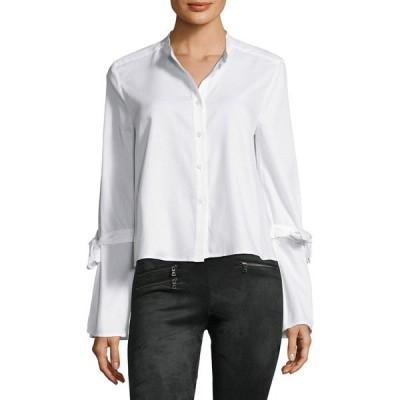 ビーシービージーマックスアズリア シャツ トップス レディース BCBGMAXAZRIA Bell Sleeve Button Shirt white